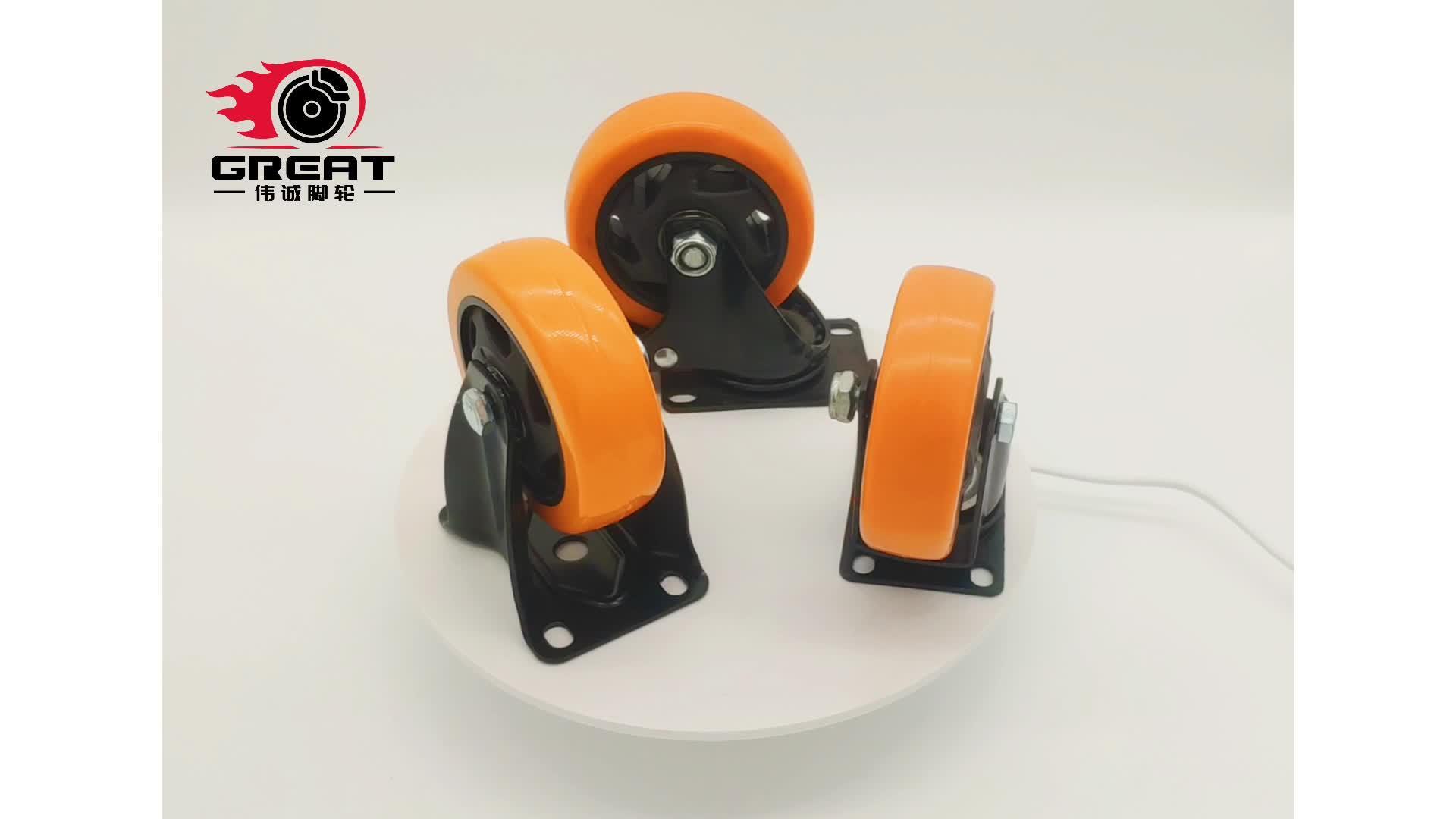 Промышленные черный корпус самоустанавливающегося колеса оранжевый ПВХ, PU, РР самоустанавливающегося колеса с двойной шариковые подшипники