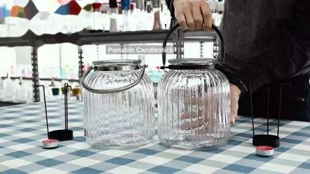American Country retro Big Portable Candlestick con candela in metallo Supporti per avambraccio