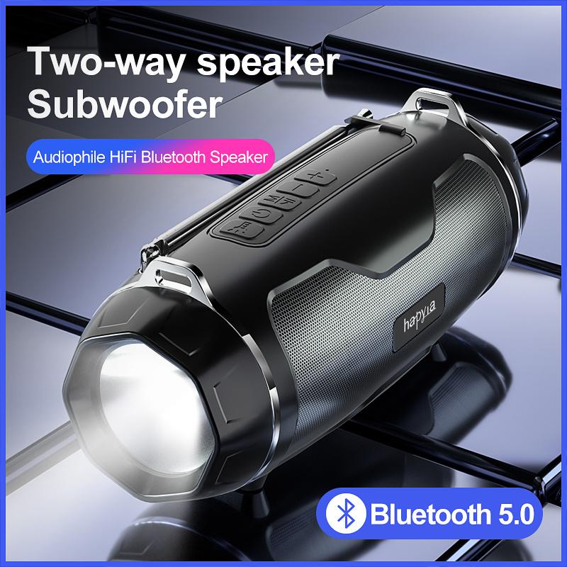 2021 Neuheiten Outdoor IPX4 LED Taschenlampe Wasserdichte tragbare Subwoofer Kabelloser Bluetooth-Mini-Lautsprecher