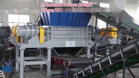 Abfallfolie/Rohr/Flasche/Beutel/Holzpalette/Karton/Tdf/Reifen/Metall/Papier/Karton Kunststoff-Doppelwellen-Schredder-Maschine