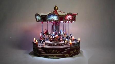 De geanimeerde LEIDENE Muzikale Rode Carrousel van Kerstmis Noel voor de Decoratie van de Vakantie van Kerstmis