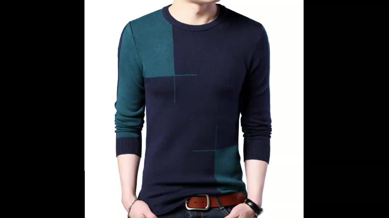 Pure laine mérinos pullover en tricot Multicolor minceur les chandails des hommes de base