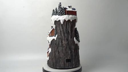 Nieuw kom van LEIDENE van de Scène van Kerstmis van de Ski van het Jonge geitje van de Berg Huis van het Dorp Kerstmis van de Aangestoken Vezel het Optische Polyresin Geanimeerde voor het Decor van de Vakantie aan