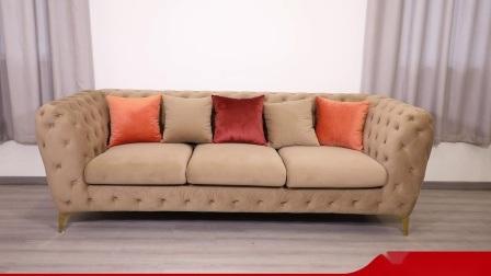 Современной гостиной МЕБЕЛЬ НОВИНКИ Честерфилд бархатной ткани диван,