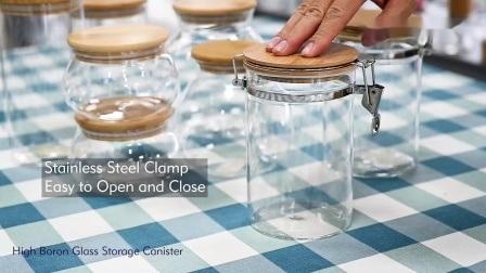 Contenitore in vetro trasparente per alimenti all'ingrosso contenitore in vetro per alimenti coperchio in bambù