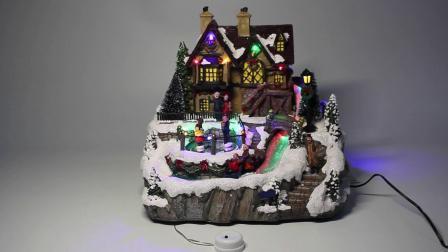 Van het LEIDENE van Polyresin van Noel Huizen van het Dorp van Kerstmis van de Vezel Decor van de Muziek de Optische