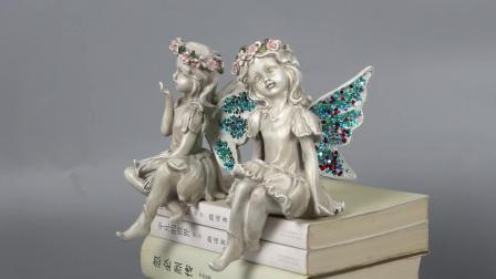 Naar maat gemaakt Decor 2 van de Tuin het Standbeeld van de Engel van het Meisje van de Zitting van de Rand van de Fee van de Hars van de Ezel