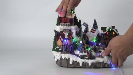 LED de Fibra Óptica Polyresin Música e Movimento aldeia natal com adaptadores