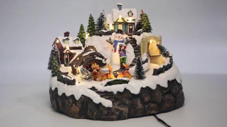 Decoratie van Kerstmis van Polyresin van de Scène van het warme Witte LEIDENE de Lichte Dorp van de Sneeuw