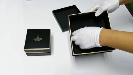 Negro de cartón reciclado de logotipo personalizado de alta calidad de estampado de lámina de cartón envases de papel Caja de regalo de lujo