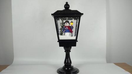 Tamanho grande de 25 polegadas Black Xmas Cena Boneco de Neve LED acenda Lanterna de mesa Musical de Natal