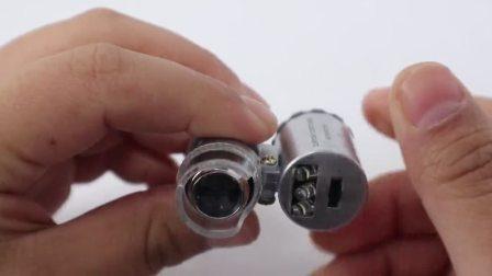 汎用 60x ポータブルポケット顕微鏡、 LED ライトパープルテストノート高出力拡大鏡 No. 9882