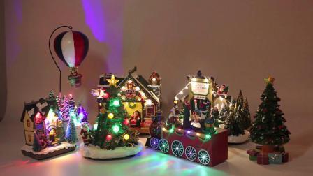 O design engraçado Polyresin animados inverno Natal cena com LED coloridos