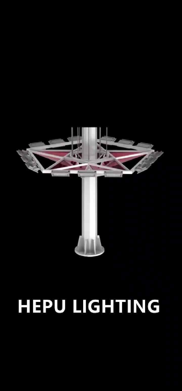 HEPU 4IP65 70FT 80FT 90FT 15M 1500W 1200W 300W 400W Wasserdichte Outdoor einstellbare Solar LED Flood High Mast Beleuchtung Licht Mit Pole für Airport Sports Stadium
