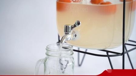 1 Galão dispensador de bebidas de vidro com torneira de vazão fácil, tampa metálica, de Boca Larga Mason Jar