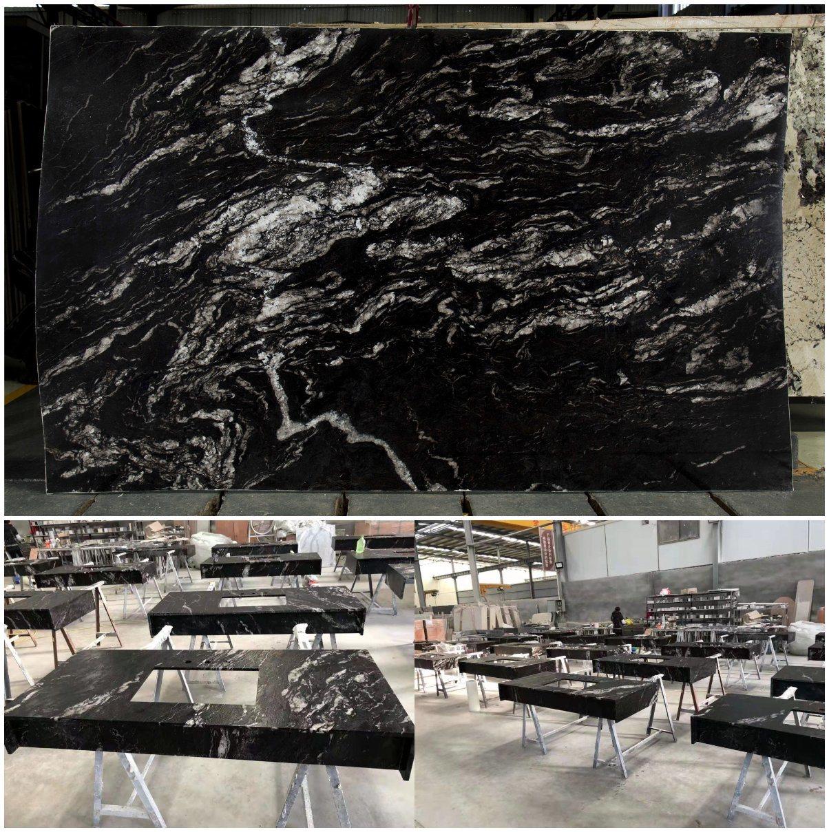 중국 화이트/골드/화이트/레드/지알로/베르데/블루/브라운 스톤 슬랩 코즈믹 블랙 티타늄 그래나이트 카운터탑용 바닥 벽 타일