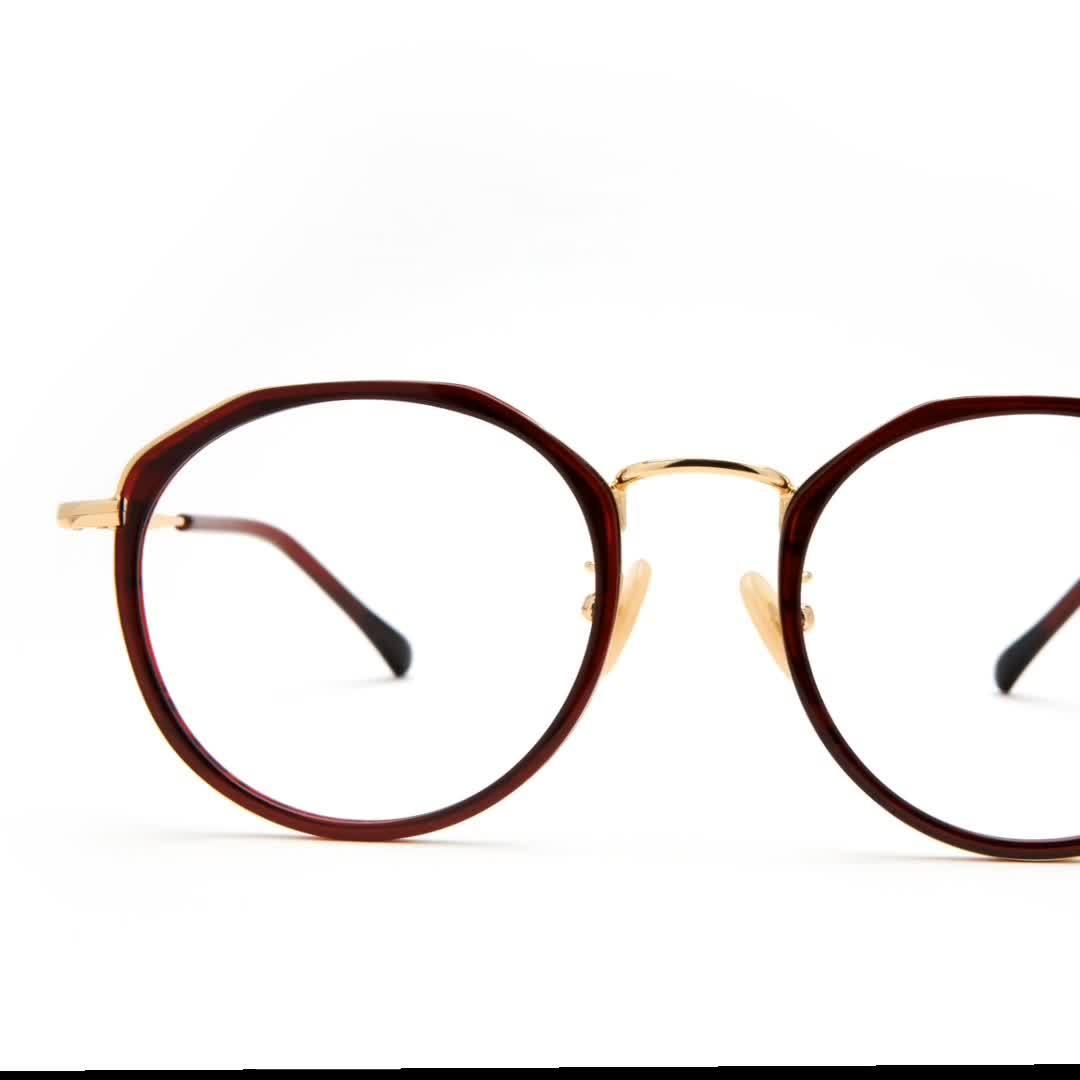 Moda&Metal acetato de gafas de óptica del bastidor, ronda los anteojos 4