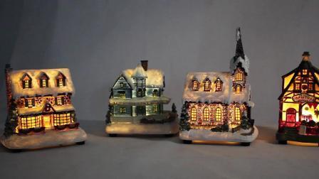 A fibra de plástico Musical Óptica Mult levou miniatura animada aldeia natal House
