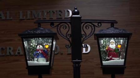 Fábrica BSCI sazonal Preto Tamanho Grande Rainproof Noel Lanternas Duplo LED Musical Rua Natal poste de iluminação com função de neve