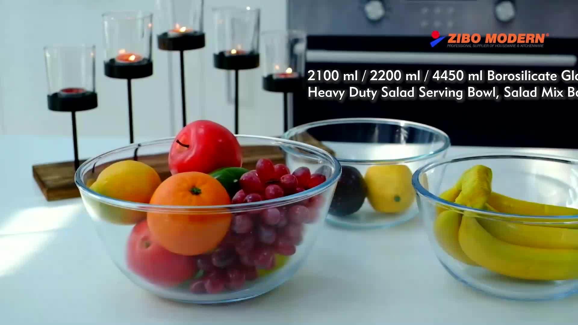 2100 مل / 2200 مل / 4450 مل زجاج بوروسيليكات سلطة للخدمة الشاقة تخدم الحوض، سلطة مزيج وعاء