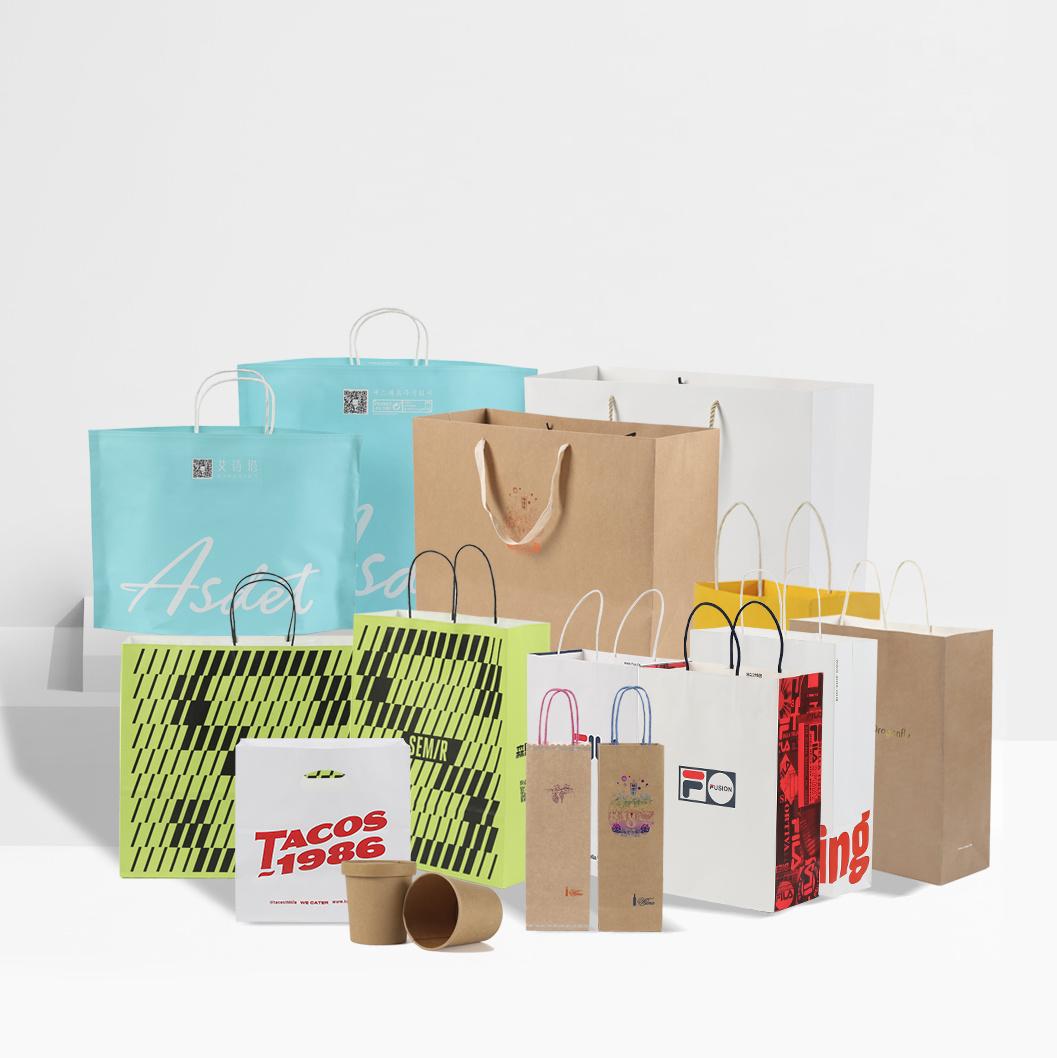 安いブラウンペーパーハンドルの袋はロゴの印刷と