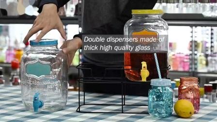 Venda por grosso de dispensador de bebidas de vidro com suporte