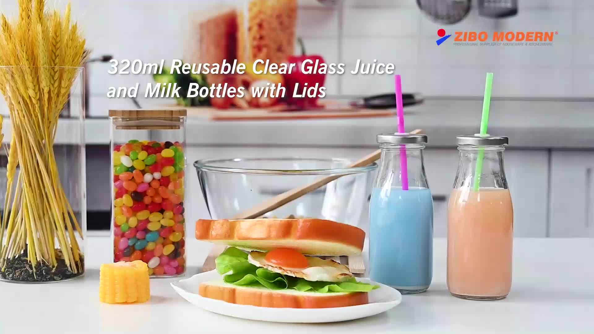 Commerce de gros verre bouteille de lait vintage avec couvercle en plastique