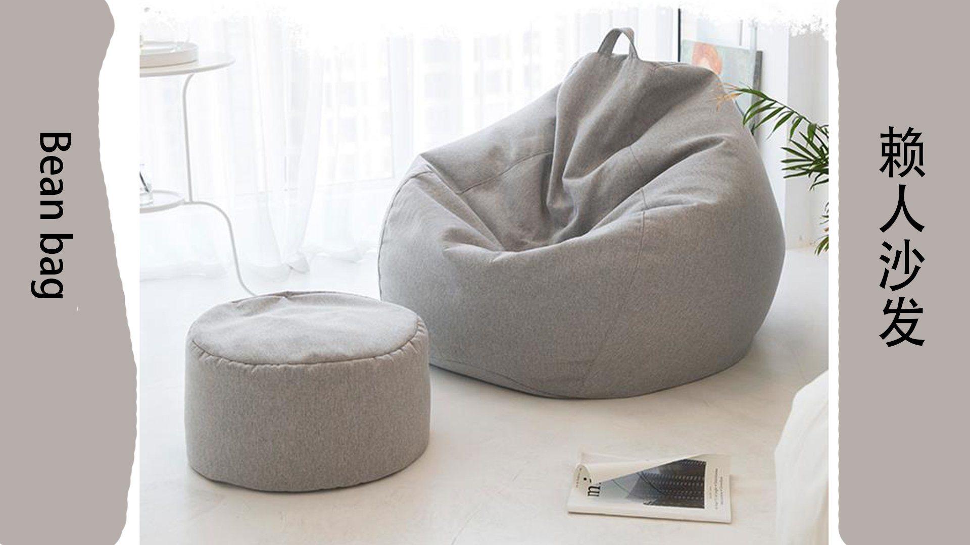 Borsa chair - Extra Large, farcito Animal Storage & Memory Foam - Lavabile Premium Soft Cotton Linen, Sturdy Zipper Beanbag Case