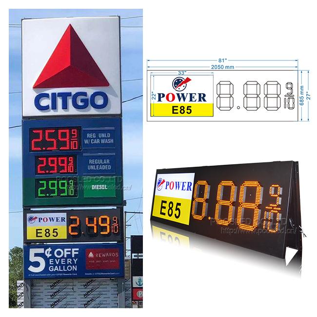 إشارة LED لأسعار الغاز لمحطة الغاز الخارجية