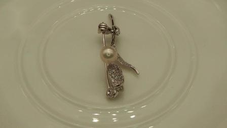 مجوهرات فضة مكعبة زركونيا روز بروش مع فريشوتر بيرل ل حفلة/زفاف