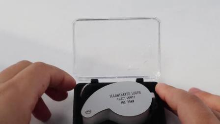 LED ランプ付きフルメタル折りたたみ式識別ジュエリー拡大鏡 Mg21011 40 x 25 mm