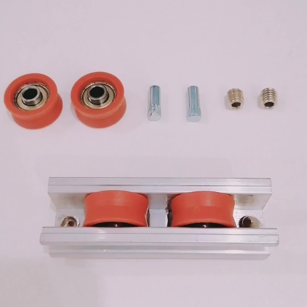 Venta caliente V la ranura de la polea de Nylon deslizante doble rodillo de aluminio para Ventana deslizante
