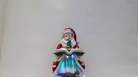 Venda por grosso Tampo Interior Bateria OEM LED aceso Resina Musical Santa Claus Decoração de Natal com a movimentação de cena da Vila