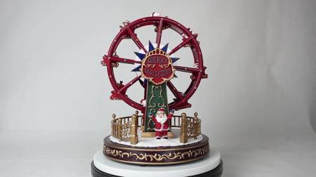 Venda por grosso de Natal 2019 embarcação Plástico animados LED Ferris Wheel Caixa de música de Natal