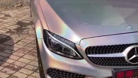 Irisation brillant laser corps d'enrubannage de véhicule d'autocollants en aluminium argenté Prisma