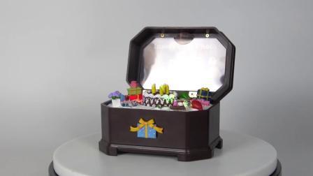 Venda por grosso de animação da bateria luz LED de estilo europeu Dom Aniversário Music Box com tampa