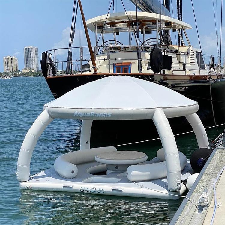 フローティングアイランド膨張式ボートテントサンシェルターラウンジプラットフォーム ヨット