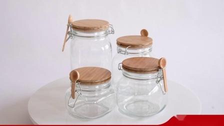Conjunto de 3 Copo de Armazenamento de vidro transparente com tampa de vidro de embalagem de alimentos para armazenamento de alimentos