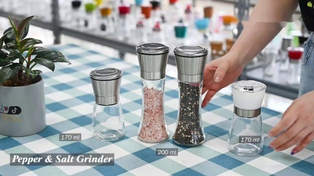 Venda por grosso de vidro de alta qualidade, sal e pimenta a rectificadora definir produtos inovadores, Moedor de ervas, ervas Mill, rebarbadora picante, Moinho picante