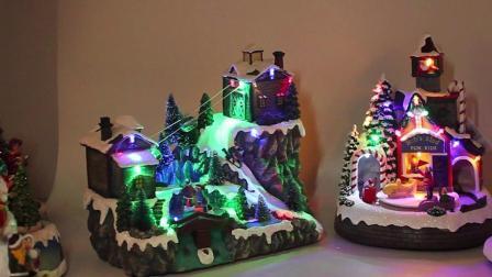 Música LED Esqui Homem jardim colorido Polyresin aldeia natal luzes LED