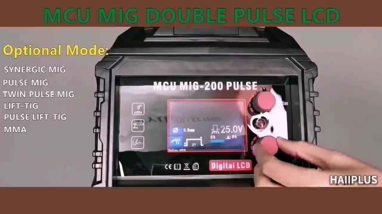 Saldatrice MIG a doppio impulso, avambraccio TIG da 3 1 multiprocesso DC 110 V/220 V LCD con schermo MCU di controllo MIG-200 LCD a impulsi