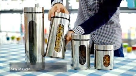 علبة من الفولاذ المقاوم للصدأ ذات جودة عالية تحتوي على مطبخ مع زجاج نافذة - حاويات تخزين الطعام مع أغطية محكمة
