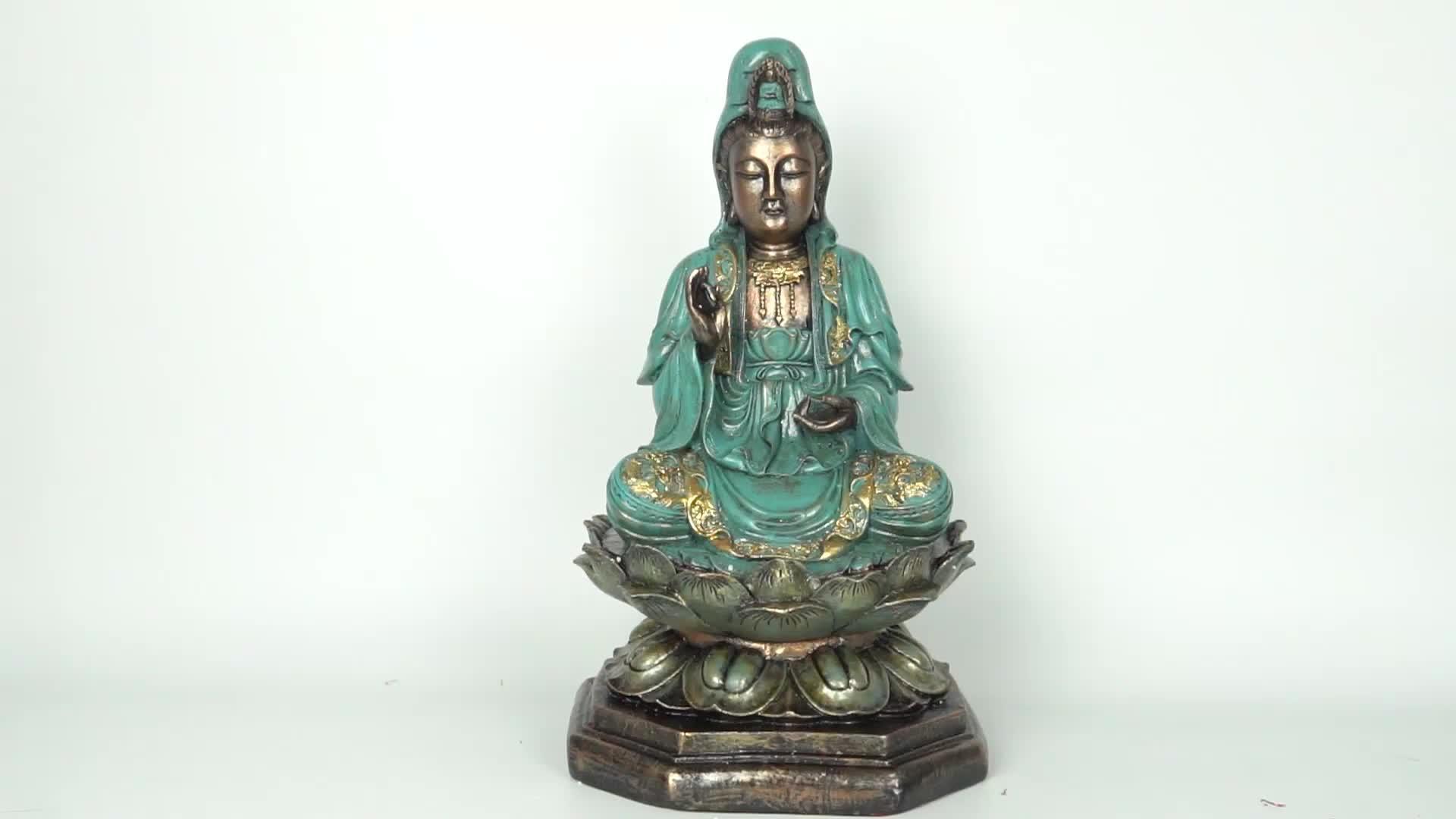 Pintura de cor verde decoração Fengshui Sessão Resina Kwan Yin estátua de Buda no Lotus