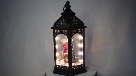 Het batterij In werking gestelde Licht van het Decor van de Lijst op LEIDENE van Kerstmis van het Beeldje van de Ar van de Kerstman Antieke Plastic Lantaarn