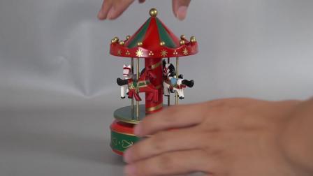 Beëindig Plastic Decor Carrossel en Houten Vrolijk gaat om de Roterende Muziekdoos van de Carrousel met het Beeldje van 4 Paard voor de Gift van Kerstmis