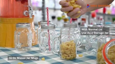 16 Oz clássico de vidro Mason Jar Canecas com tampa e palha - Bebidas frias Copos - Cozinha jarros de armazenamento