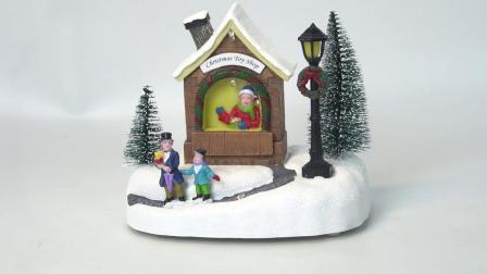 Huizen van het Dorp van Kerstmis van de Vezel van de Hars van de Scène van de Winkel van de Kerstman van Kerstmis van Noel van de douane de Optische Muzikale Miniatuur met LEIDENE Mult Kleur
