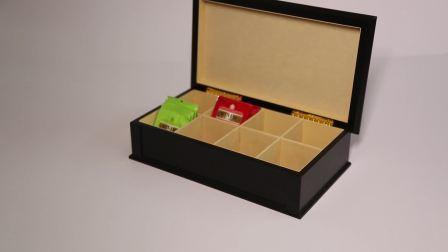 Té de madera acabada en negro, titular de la madera, cajas de almacenamiento de la bolsa de té de la casilla Mostrar forrado con fieltro 8 Compartimento, té de la caja de embalaje de regalo de madera y fábrica mayorista