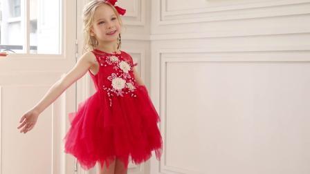 새로운 2019 봄 여름 레드 파티 프롬키즈 슬리브리스 드레스 어린이 소녀를 위한