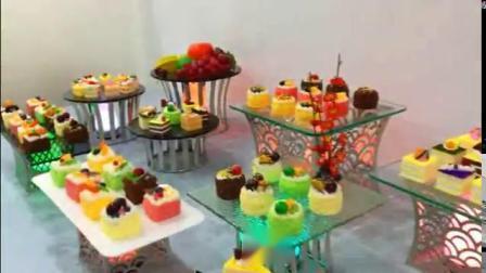 Parte Banquetes Decorativos Mesa Square Gold em aço inoxidável Horizonte Buffet sobremesa Cupcake Vidro do Visor de ardósia em mármore Riser placas 3Conjunto de peça Bolo de casamento Stand